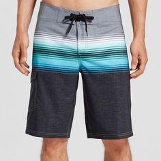 Men's Board Shorts Ombre Stripe Orange 38 - Mossimo Supply Co.
