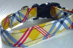 Mustard Grey and Red Plaid Dog Collar Made to by katiesk9kollars, $15.00