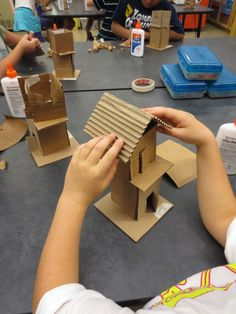 Fourth Grade artists are continuing their architecture unit of study, but this time we are working on form.  Form is the element of design that describes three-dimensional objects, or things that have height, width and depth.  Students are building two-story houses out of cardboard, and trying to give their houses a sense of character.  Students LOVE working in three-dimensions!