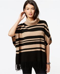 Charter Club Cashmere Striped Fringe Poncho Sweater