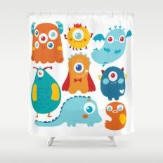 Shower Curtain featuring Aliens And Monsters Pattern by Maria Jose Da Luz