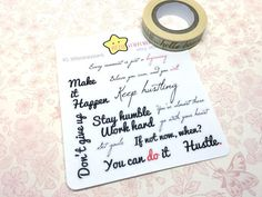 Hustling Quotes Planner Stickers, Motivation for Work Hard Quotes, Go Getter Planner Stickers fits Happy Planners, Erin Condren, A5 Planner