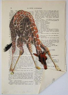 Instead of serving as a reading tool when you get bored at your house, old books can be recycled and transformed into clever and cool artworks. Have a look at these old book art examples below for … Old Book Art, Book Page Art, Old Books, Altered Books, Mix Media, Tableau Pop Art, Giraffe Art, Dictionary Art, Scrapbook