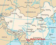 Carte du Xishuangbanna, Province du Yunnan - LeManshu蛮书/蠻書,mánshū(Livre des Barbares du sud, publié en 862) indique: «Les théiers poussent dans les montagnes aux alentours de Yinsheng [dans l'actuelXishuangbanna]. Leurs feuilles sont cueillies et traitées de manière aléatoire. Lesbarbares Mengshe蒙舍[ancêtre du peuple Bai] font bouillir les feuilles de thé avec différents épices, du gingembreet de l'olivier odorant» (osmanthus) (387×314)