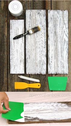 Easy tutorial & video on how to whitewash wood to create beautiful farmhouse white washed floor, shiplap wall & furniture on pine, pallet or reclaimed wood! – A Piece of Rainbow DIY home decor ideas, Vintage, shabby chic Distressed Wood Furniture, Painted Furniture, Diy Furniture, Furniture Makeover, Building Furniture, Diy Farmhouse Table, Farmhouse Chic, Wood Crafts, Diy And Crafts