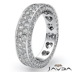 2 Row Womens Wedding Band Pave Diamond Heart Eternity 14k White Gold Ring 2Ct