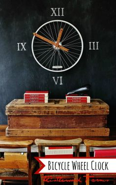 bicycle wheel clock, chalkboard paint, crafts, repurposing upcycling, I hung the bike wheel on the chalkboard wall and added roman numerals Bicycle Clock, Old Bicycle, Bicycle Wheel, Bicycle Decor, Wagon Wheel, Bicycle Design, Make A Clock, Diy Clock, Clock Ideas