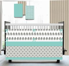 The perfect crib bedding I have been looking for!! So cute!! Fresh Aqua and Gray   Chevron Elephants Ikat  Custom by HappyMae, $185.00