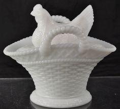 Antique Milk Glass Hen on Nest Basket