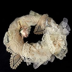 Crocheted and Lace VINTAGE HANKERCHIEF WREATH