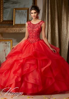 Morilee Vizcaya Quinceanera Dress 89117 JEWELED BEADING ON FLOUNCED ORGANZA BALL GOWN  Matching Stole. Available in Red, Royal, White (Color of this dress): Red