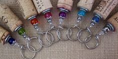 Beaded Genuine Upcycled Wine Cork Keychain-Great for Boaters and Swimmers-It Floats