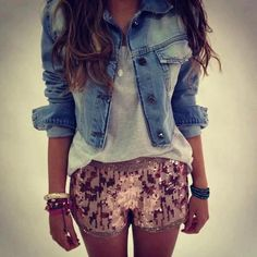 Dressed up sequin shorts w/ a casual top & jean jacket