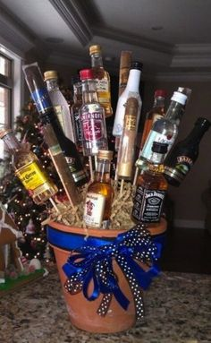 """Frugal """"Booze Bouquet"""" Gift Idea - I can think of a lot of people who would love this gift - great idea for Valentine's Day"""