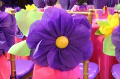 Decorated flower chairs at a Rapunzel birthday party! See more party ideas at CatchMyParty.com!