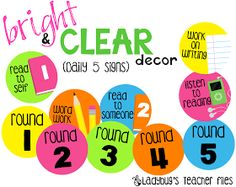 Ladybug's Teacher Files: Bright & Clear Daily 5 Signs