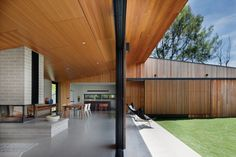 """At Hover House the living spaces """"hang off"""" the perimeter of an oversized courtyard."""