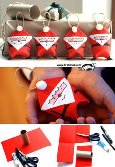 Mini Santa Gift Bags Made Out Of Toilet Paper Rolls ~ Lots of cute toilet paper roll crafts on this site! Noel Christmas, Diy Christmas Ornaments, Christmas Projects, Holiday Crafts, Christmas Decorations, Santa Ornaments, Father Christmas, Simple Christmas, Christmas Toys