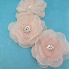 Blush Bridal hair flower set Blush pink Organza by HARTfeltart, $33.00