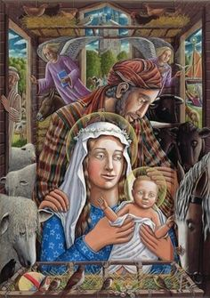 A Gloucestershire Nativity, 2009 Wall Art & Canvas Prints by P.J. Crook