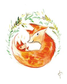little one 11x17 watercolor fox print  So cute.