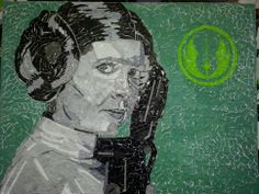 Leia is 24x18 and is made of individually hand ripped recycled magazine paper.