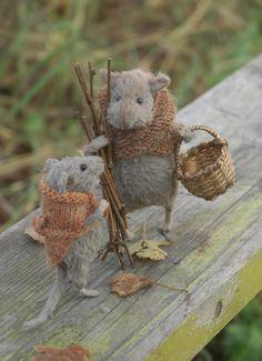 Acorns. Definitely acorns! l mice gathering goodies for autumn picnic