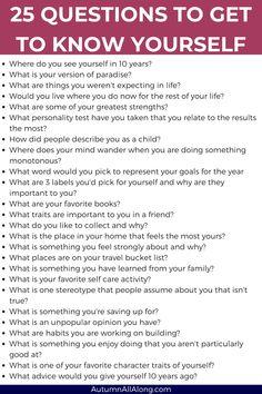 25 spørsmål for å bli kjent med deg selv | dagbok ber om selvoppdagelse | via høst hele veien Fun Questions To Ask, This Or That Questions, Questions To Get To Know Someone, Life Questions, Get To Know Me, Getting To Know Yourself, Journal Questions, Therapy Journal, Mental Health Journal