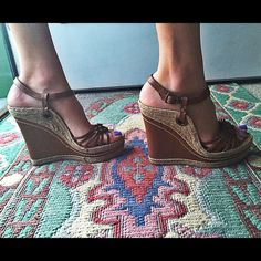 """Mia Wedge☀️ NEW!!!☀️Sexy wedge.. 1.5"""" platform ..5""""wedge heel.. Only worn on carpet..size 7.5.. No trades no pay pal.. MIA Shoes Wedges"""
