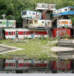 densely populated mobile home park