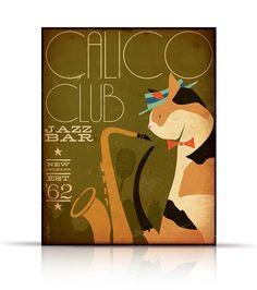 Calico cat Jazz Bar original graphic illustration by geministudio