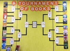 Book Madness {March Book Display} - a fantastic post about how to pull together a tournament bracket wall display with freebies!!! Love!!!