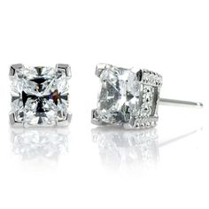 Joselyn's 3 TCW Cushion Cut CZ Diamond Stud Earrings Cushion Cut, Diamond Studs, Jewelry Box, Stud Earrings, Engagement Rings, Crystals, Earrings, Diamond Earrings, Jewellery Box