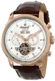"""Ingersoll Men's IN4511RSL """"Okies"""" Stainless Steel Automatic Watch with Brown Genuine Leather Band Ingersoll"""