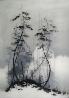 All of Brooks Salzwedel's drawings are hand drawn graphite on Duralar cast in layers of resin. Color in the pieces are made by layers of