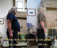 """Order here> http://crystal_d.SkinnyBodyMAX.com  . WOW! And Yes, men can lose weight and regain their health too with SB MAX! . Our friend Nanci says: . """"This is my husband, Ross. He started taking this product two months ago, as he was not feeling all that well, and his type 2 diabetes was out of control. He was also having difficulties sleeping and had many different cravings. It was hard for him to do any real exercise because of pain in his hips and knees due to the weight. He is 6'5, so…"""