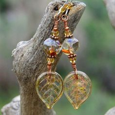 Autumn Leaf Handmade Earrings Czech Glass Amber Unique Beaded Jewelry | ShadowDogDesigns - Jewelry on ArtFire