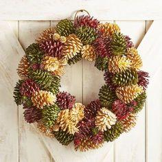 """Multicolor Glazed Pinecone 21"""" Wreath"""