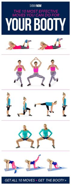 Top 10 most effective moves to get your booty lifted and lightened. These moves will have your glutes burning!