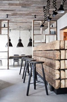 wooden bar and industrial down lights