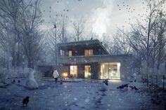 Photoshop brakdown of 'The Unbuilt House' by Hungarian based architectural visualization studio, ZOA. 3d Architectural Visualization, Architecture Visualization, 3d Visualization, Architectural Animation, Photoshop Rendering, Photoshop Video, 3d Rendering, Image 3d, 3d Architecture