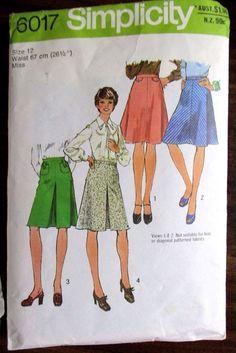 SIMPLICITY SEWING PATTERN NO. 6017 GIRLS SKIRTS SIZE 12 #Simplicity #Patterns