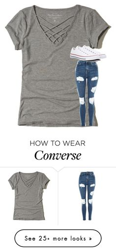 """Untitled #4085"" by laurenatria11 on Polyvore featuring Hollister Co., Topshop and Converse"