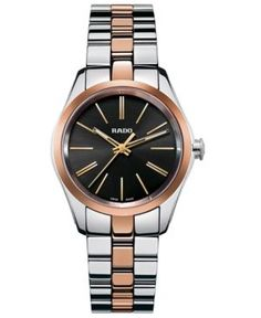 Rado Women's Swiss Hyperchrome Rose Gold-Tone Ceramos and Stainless Steel Bracelet Watch 31mm R32976152