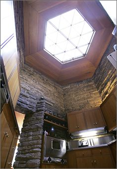A six-sided skylight in the kitchen follows the hexagonal theme of Kentuck Knob, a home designed by architect Frank Lloyd Wright, in Ohioplyle, Pa