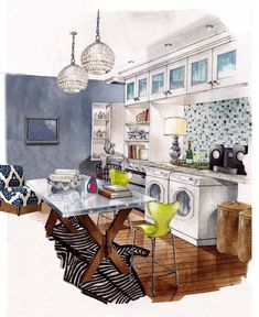 Interior Design Sketches Kitchen loft in progress on behance | Скетчи | pinterest | galleries, home