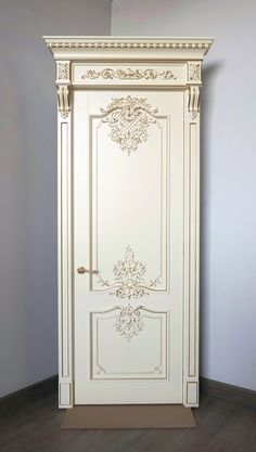 """The door """"Versailles""""– the personification of exquisite taste, premium door, created in the spirit of French Baroque. Baroque style symbolizes wealth and strength. This model impresses not only with its luxurious appearance, but also with the amount of manual labor that our craftsmen put into the process of its creation. While working in our production workshops, a special atmosphere reigns: each master fulfills the task assigned to him with great dedication and love. Luxury Bedroom Design, Home Room Design, Home Interior Design, Interior Decorating, Classic Doors, Vintage Doors, Luxurious Bedrooms, Door Design, Furniture Makeover"""