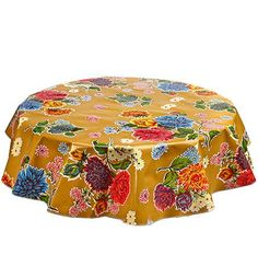 Round Oilcloth Tablecloth In Mum Tan
