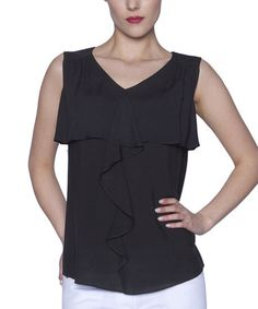 Look what I found on #zulily! Black Ruffle Tier Sleeveless Top by Elfe #zulilyfinds