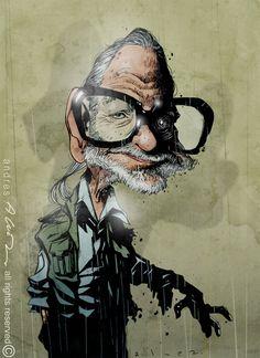 George Romero - el papá de los zombies The Godfather, Joker, Fictional Characters, Design, Caricatures, Illustrations, Jokers, Fantasy Characters, Comedians